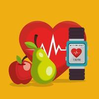 smartwatch met gezonde levensstijl pictogrammen vector