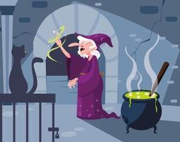 heks hol scène met zwarte kat en ketel