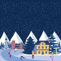 Kleine stad winters tafereel