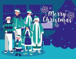 groep van gezin met kleren Kerstmis in huis vector