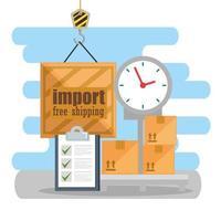 logistiek serviceontwerp met schaal, dozen, klembord en klok vector