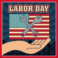 Retro dag van de arbeid-kaart vector