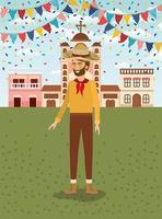 jonge boer vieren met slingers en stadsgezicht