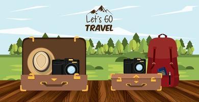 Laten we gaan reizen toerisme poster
