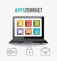 Mobiele apps icon set met laptop