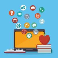 laptop met onderwijs online service vector