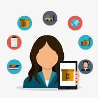 Levering, transport en logistiek zakelijke icon set vector