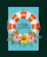Bloemen Hallo zomer kaart vector