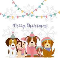 Kerstgroet met honden vector