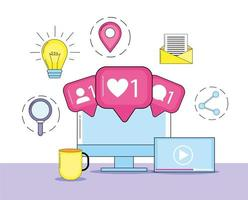 computer met berichtinformatie op sociale media