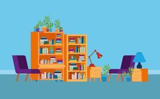 Boekenkasten in studeerkamer vector