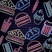 De voorwerpen van de de onafhankelijkheidsdag van de neon Amerikaanse zomer voedsel