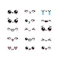 kawaii-tekengezichten met uitdrukkingen instellen vector
