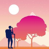 Wanderlust persoon reizen met rugzak vector