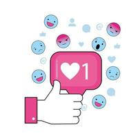 hand met sociaal chatbericht en emoji's