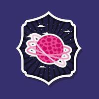 Space planet over labelontwerp vector