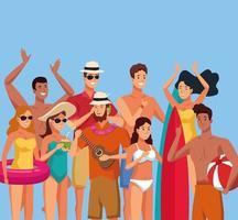 Jonge mensen in badpakken in de zomer vector