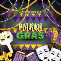 maskers met mardi gras embleem en trommel naar evenement