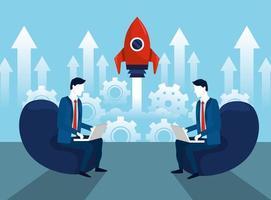 professionele zakenmensen met laptop- en rakettechnologie vector
