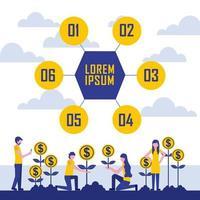groei munten winst infographic vector