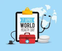 eerste hulp en stethoscoop tot gezondheidsdag vector