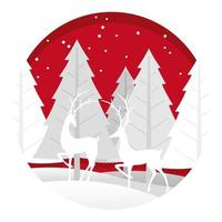 Kerst ronde illustratie met bos en rendieren