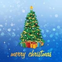 Kerstkaart met boom en geschenken