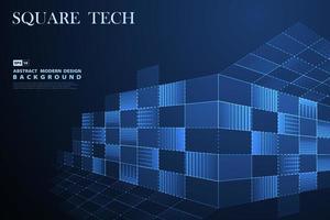 Blauwe vierkante technologiedecoratie