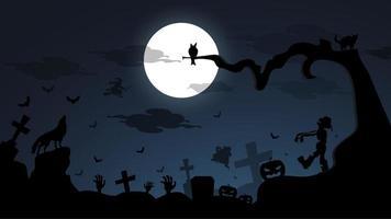Donkere nacht Happy Halloween-achtergrond