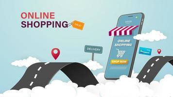 Online winkelen op mobiele telefoon vector