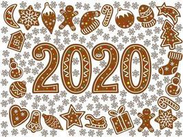 Peperkoek kerst symbolen. Nieuw jaarpictogram 2020