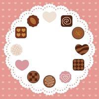 Valentijnsdag kaart met verschillende chocolaatjes