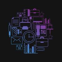 Set van Office-pictogram met kleurovergang vector