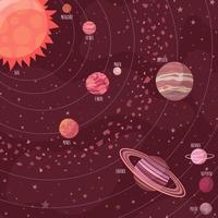 Ruimteachtergrond in cartoonstijl