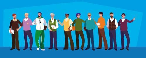 groep mannelijke leraren avatar karakter vector