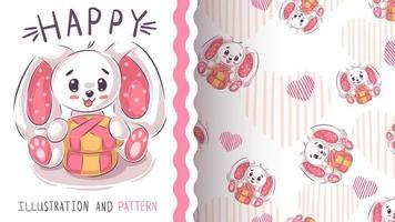 Grappig teddy konijn - naadloos patroon