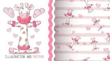 Leuke teddygiraf - naadloos patroon vector