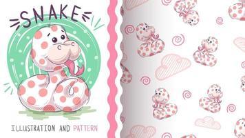 Leuke teddy slang - naadloos patroon