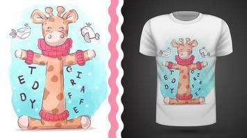 Vogel en giraf - idee voor print t-shirt vector
