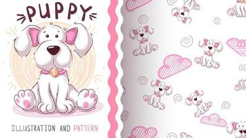 Leuke teddyhond - naadloos patroon vector