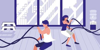 jonge atletische paar met touw sport in de sportschool vector