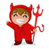 Jongen die een rood duivelskostuum draagt