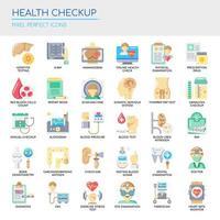 Set van Health Checkup dunne lijn en pixel perfecte pictogrammen voor elk web- en app-project. vector