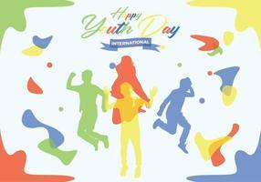Jeugd dag mensen silhouetten met kleurrijke achtergronden vector