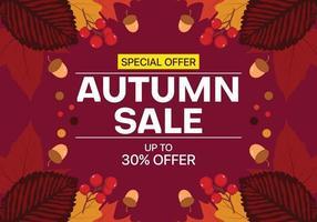 Herfst verkoop achtergrond met bladeren, noten en fruit