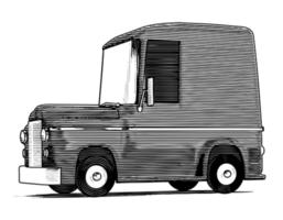 Gegraveerde cartoon auto vector