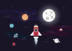 Potloodraket in de ruimte