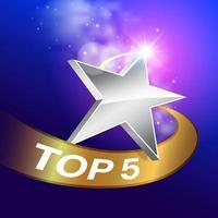Rangschikking ster met top vijf banner vector