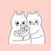 Cartoon schattige familie katten en pasgeboren