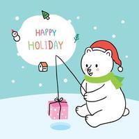 Cartoon schattige kerst ijsbeer vissen cadeau vector